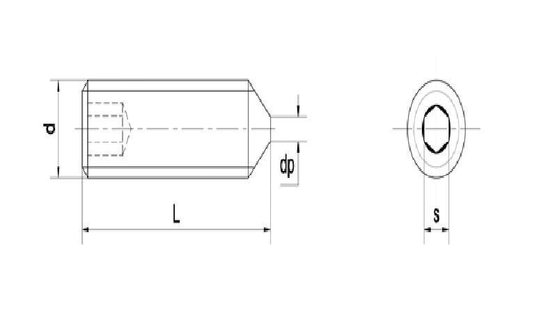 bản vẽ vít trí lục giác đầu nhọn DIN 914